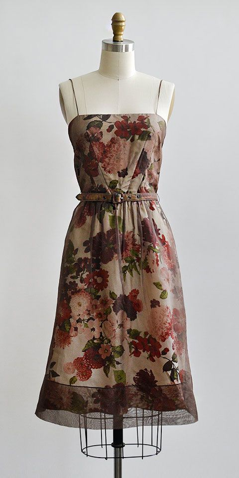 vintage inspired sheer brown floral party dress