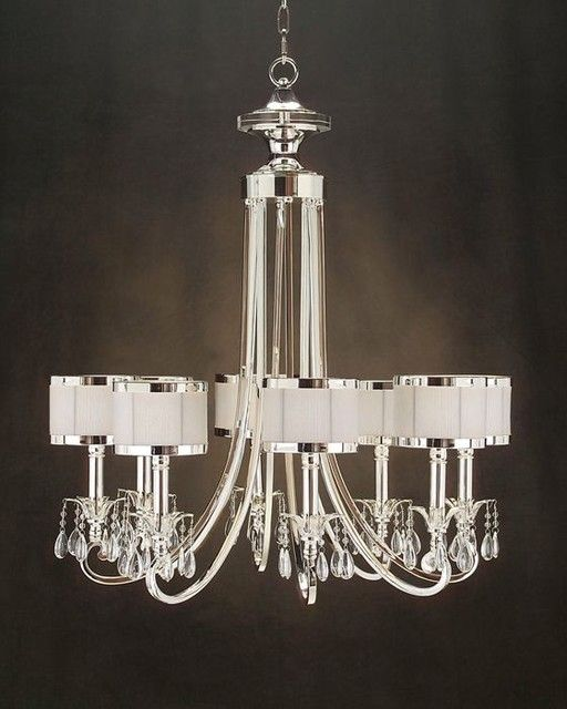 Modern Lighting Chandeliers: X Eight-Light Silver Chandelier Shade: X X New Oyster White Candelabra  Base, 60 Watt Max, Type B Bulb Sold Only As Shown In Silver Finish with  Glass Accents ...,Lighting