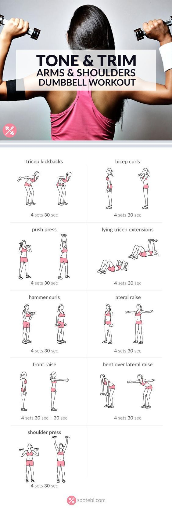 Arm & Shoulders Dumbbell Workout. Each exercises for 30 sec or complete 15-20 repetitions. Rest 30-60 sec, repeat circuit 4 times. Total of 20 mins::