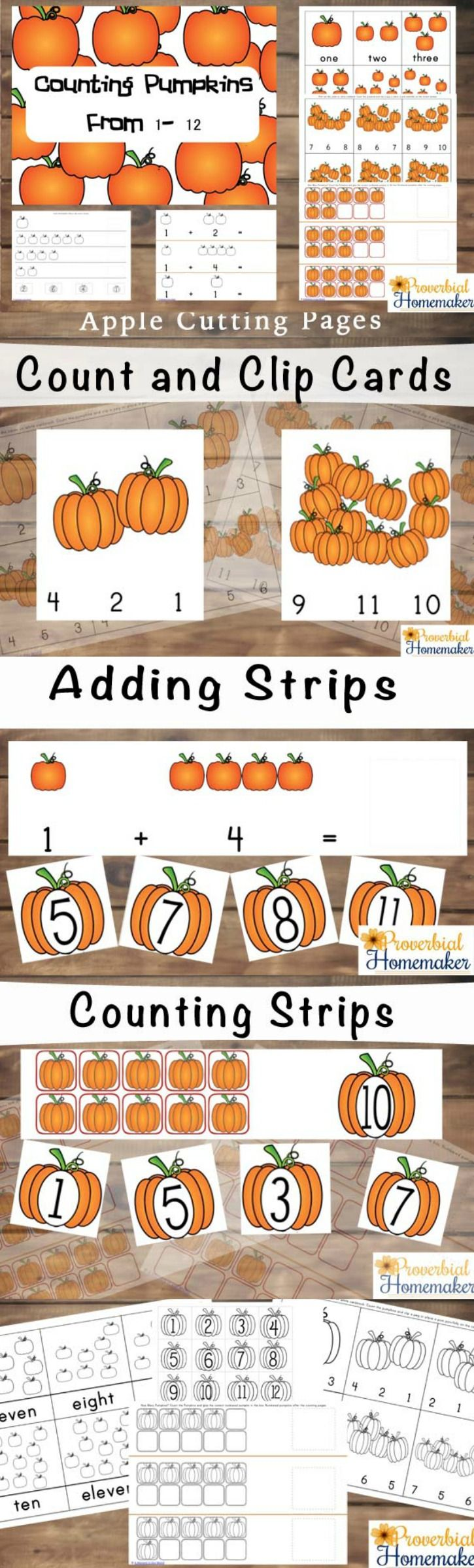 Fun! Pre-k through first grade kids will get a kick out of the pumpkins and they're educational, too! Counting Pumpkins Printable Pack - great fall homeschool printable.