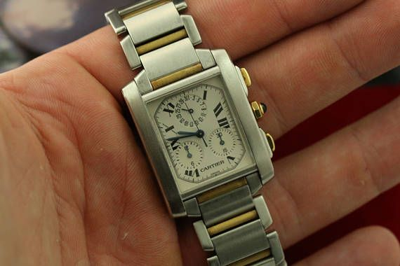 Rare CARTIER Men's Tank Francaise Two Tone Gold 2303 Watch