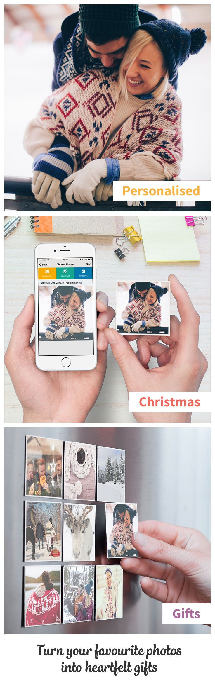 Create personalised Christmas gifts for your loved ones. Print your photos on brilliant Magnets. Make your fridge cooler! Download our App now.