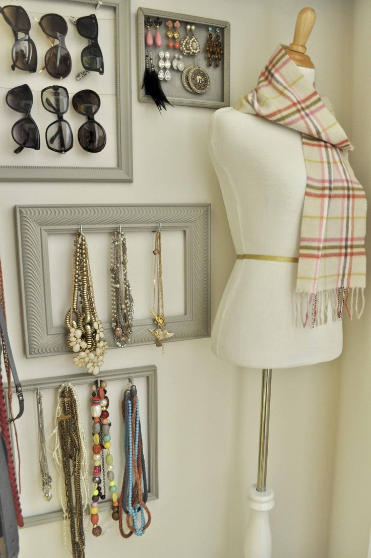 """necklace earing sunglass organization style - """"I like the sunglasses in the frame good idea I am going to do this too"""""""