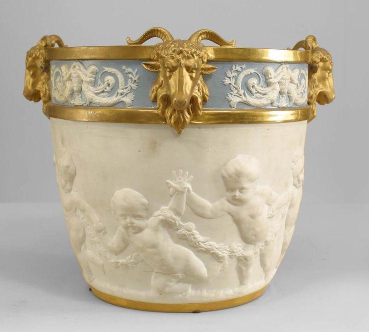 Louis XVI style Sevres blue and white porcelain jardinière , 19th c.