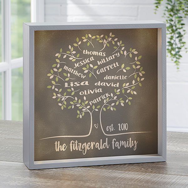Tree Of Life Personalized Grey 10x10 Led Light Shadow Box Shadow Box Shadow Box Art Hand Painted Signs