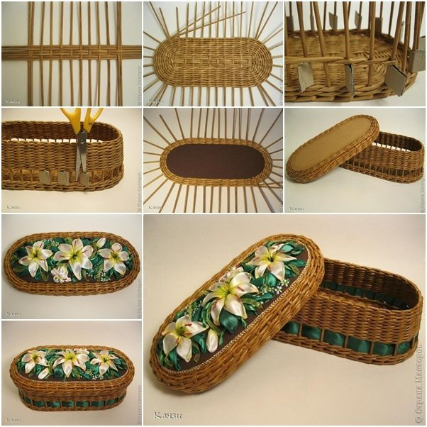 How to DIY Beautiful Woven Basket from Paper Tube and Ribbon | www.FabArtDIY.com