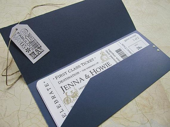 Boarding Pass Wedding Invitation Package, First class ticket invitation, rsvp card, destination card, ticket jacket - Vintage times
