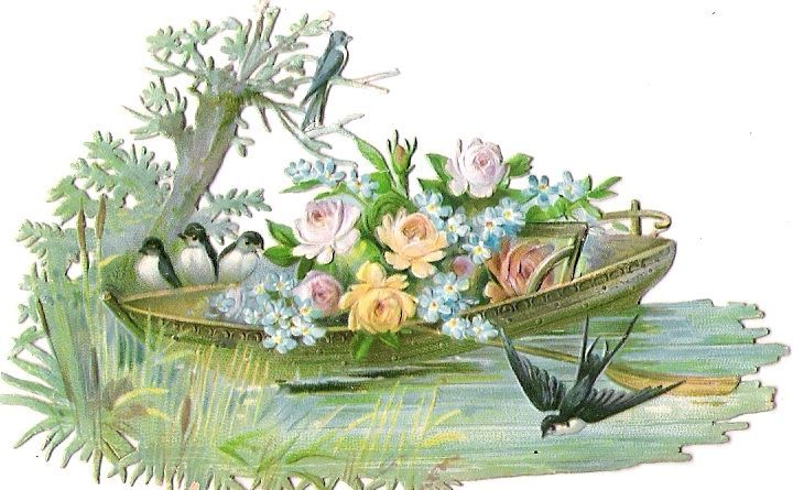 Oblaten Glanzbild scrap die cut  chromo Schwalbe swallow  Boot  boat  Vogel bird