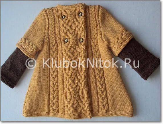 Детское пальто Арабески | Вязание для девочек | Вязание спицами и крючком. Схемы вязания.