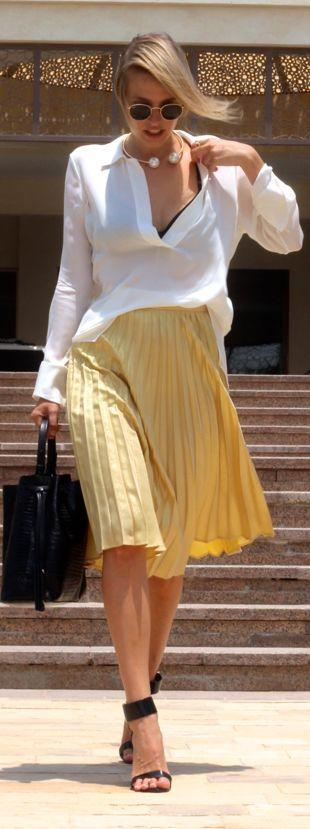 Yellow Pleated A-line Midi Skirt