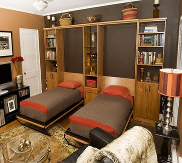 Two Twin Wall Beds In Home Office - eclectic - home office - san francisco - Valet Custom Cabinets & Closets    WNBooks.com