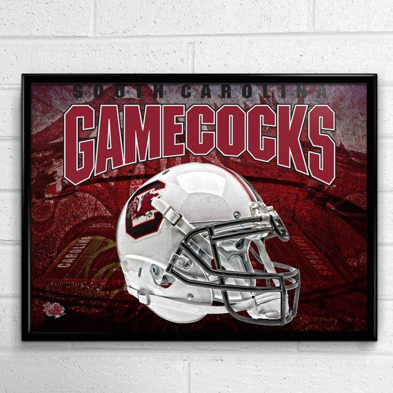 South Carolina Gamecocks Football Poster Head by SportPostersUSA