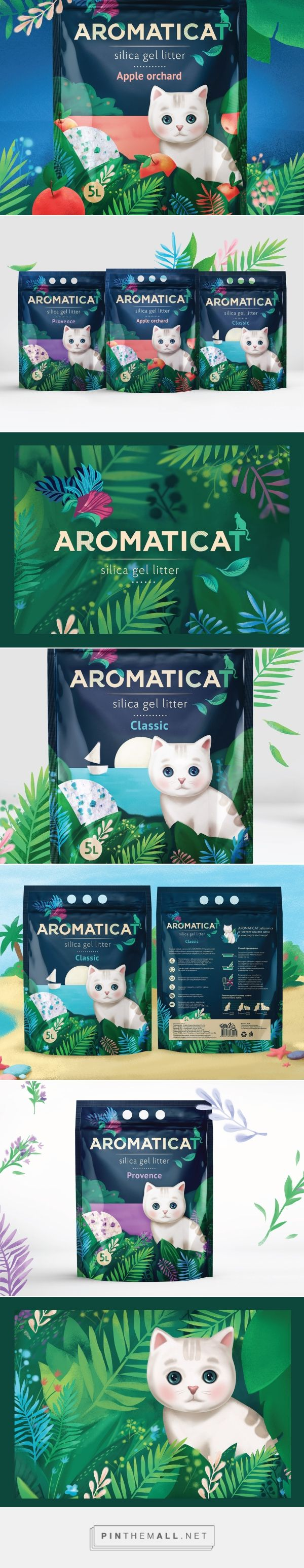 Illustration, graphic design and packaging for Aromaticat on Behance By Dochery St. Pertersburg, Russia.  So cute and clever branding for the packaging smile file : )