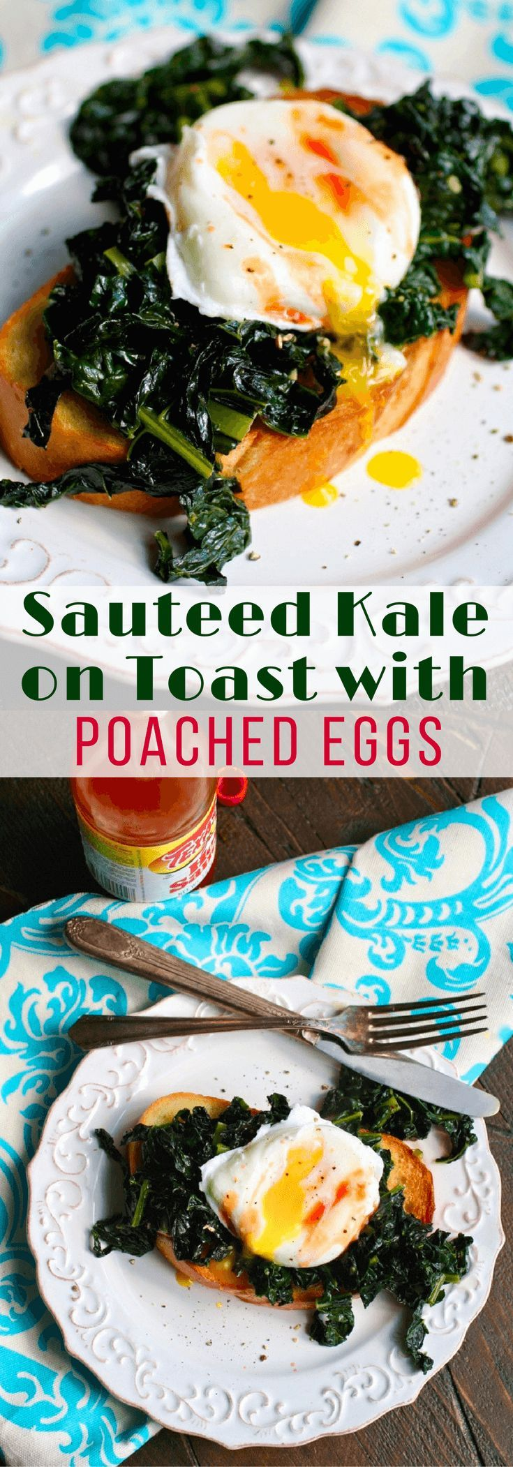 Sauteed Kale on Toast with Poached Eggs makes a scrumptious breakfast dish. You'll love how easy it is to make!