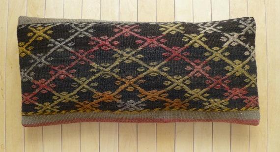 Lumbar Handmade vintage kilim Pillow cover by PillowTalkOnEtsy, $38.00