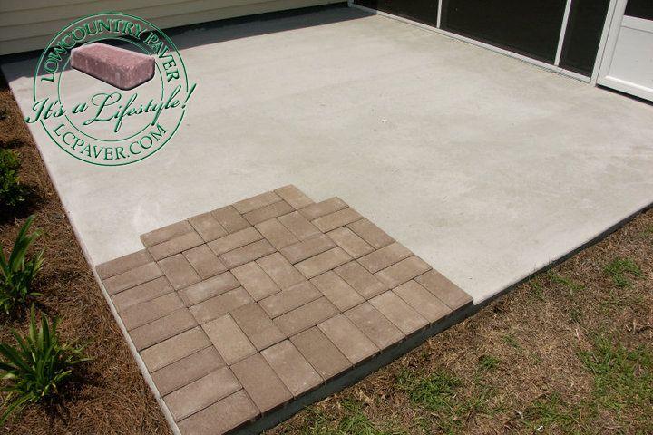 Patio Walls Around Patio Slab : Concrete slab with pavers overlay home ideas pinterest