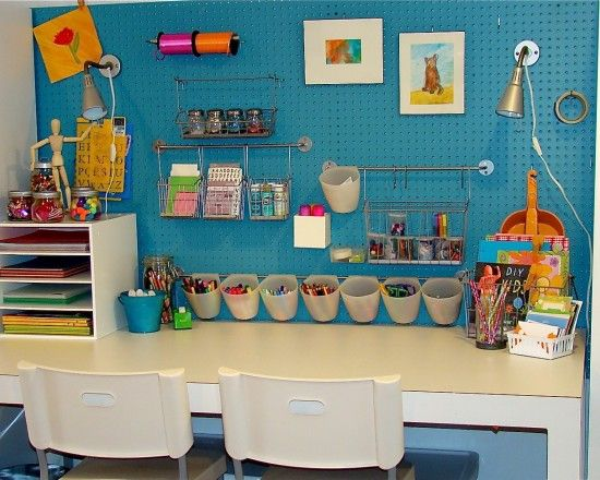 Crafts Table!! I love it for the girls desk! Now to buy some peg board. - love the towel rods for hanging different items