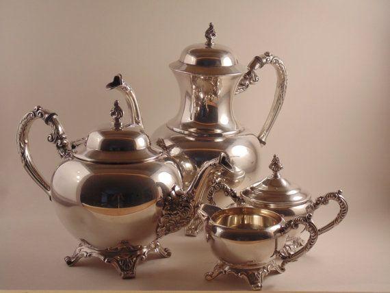 Antique 4 Piece Silver Plate Tea Set Wm A by CountryGardensPtbo