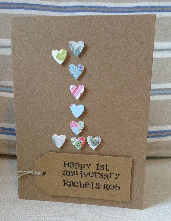 Number greeting cards| First Wedding Anniversary - Paper | Paper hearts | Wedding Anniversary | Personalised | Birthday Age