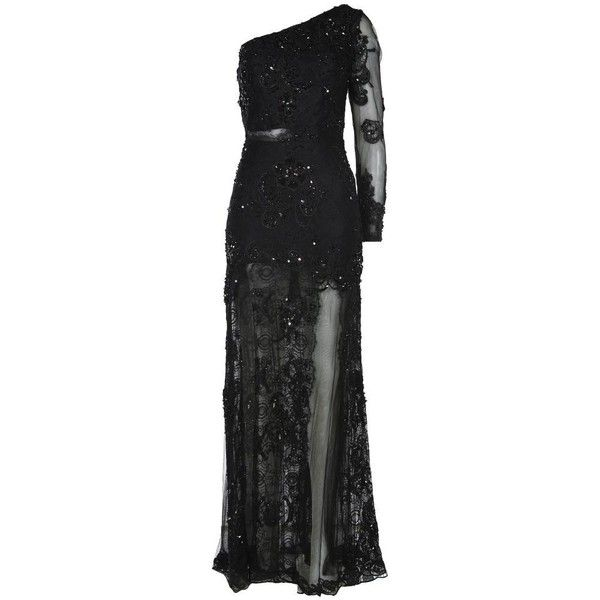 Forever Unique Women's Thelma Asymmetric Black Lace Dress found on Polyvore