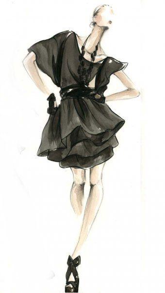 Little Black Dress Fashion Illustration. LBD