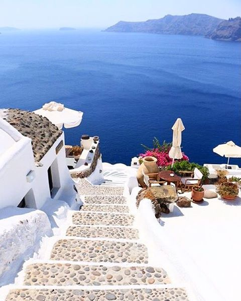 """""""The stairway to heaven"""" Stunning view at Santorini island (Σαντορίνη) ☀️. Perfect Cycladic White & Blue !!! If you are looking for a romantic getaway that's the most adorable place ❤️."""