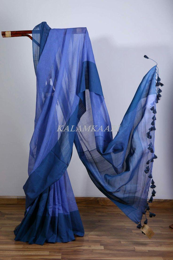 Linen saree with tassel detail