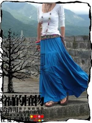 Light Blue Casual Cotton Big Sweep Skirt -NC045 | StylishLife - Clothing on ArtFire
