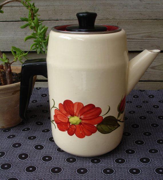French vintage enamelware coffee pot, cream with orange flowers, French retro, French enamel, 1970s