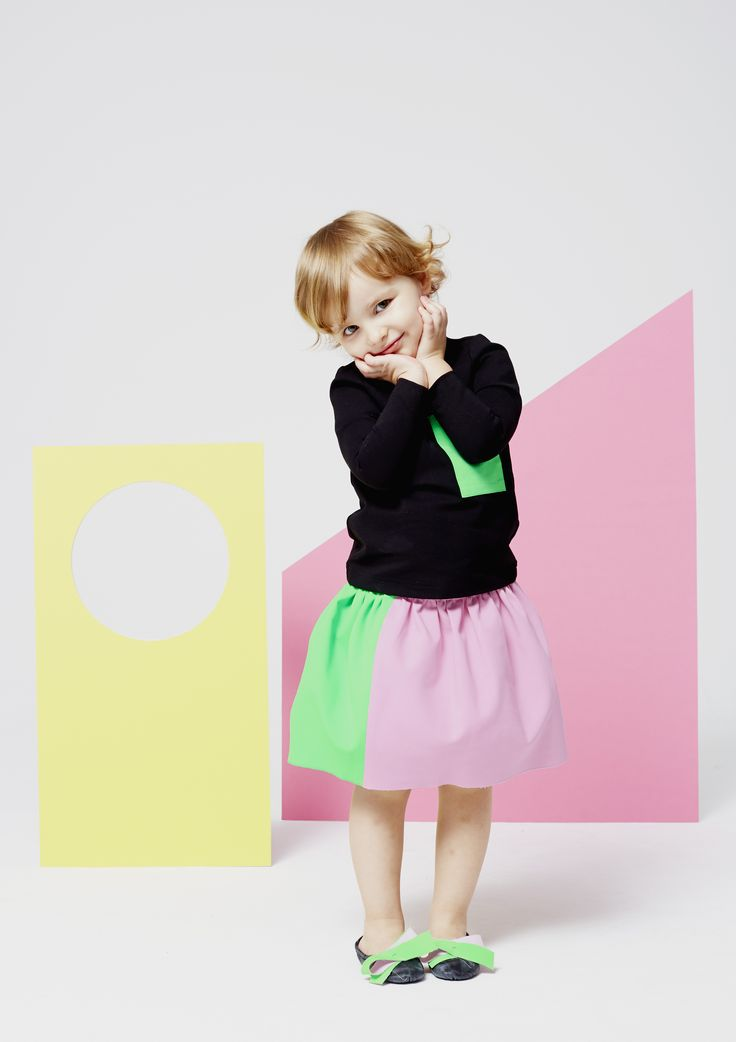Black contrasts well with the sorbet brights for Roksanda Illincic summer 2015 kidswear line