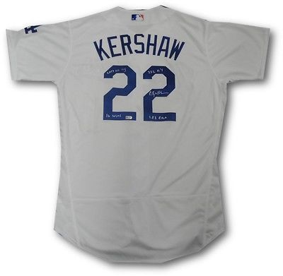 Clayton Kershaw Hand Signed Autographed Authentic Dodgers Jersey 2013 Cy Stats