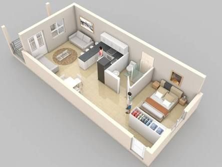 1000 ideas about apartment floor plans on pinterest for Narrow studio apartment