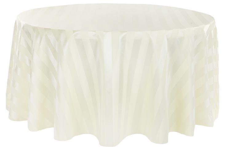 "Jacquard 120"" Round Tablecloth - Stripe Ivory •  $18.99"