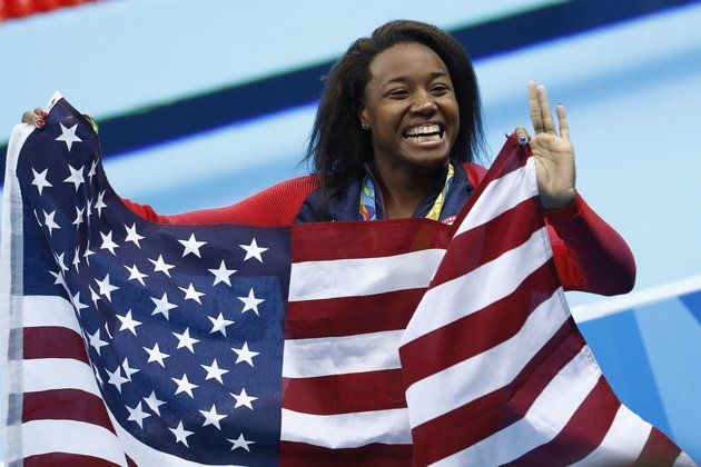 Simone Manuel from the 2016 Olympics in Brazil. She was the first African American woman to medal in individual swimming.