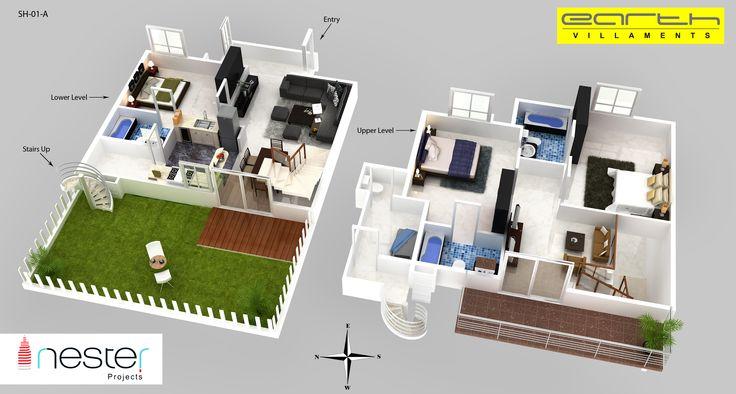 3D floor Plan of Earth Villament.