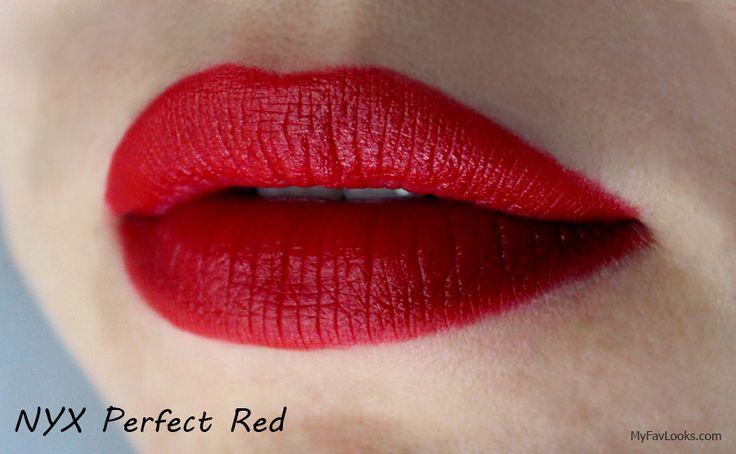NYX Matte Lipstick Swatch. Perfect Red.