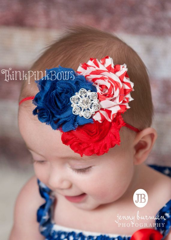 SALE Baby headband,4th July headband,Patriotic Headband ,Baby Headbands,Newborn Headband,M2M Petti Lace Romper in Our shop. Baby Bows. on Etsy, $6.95