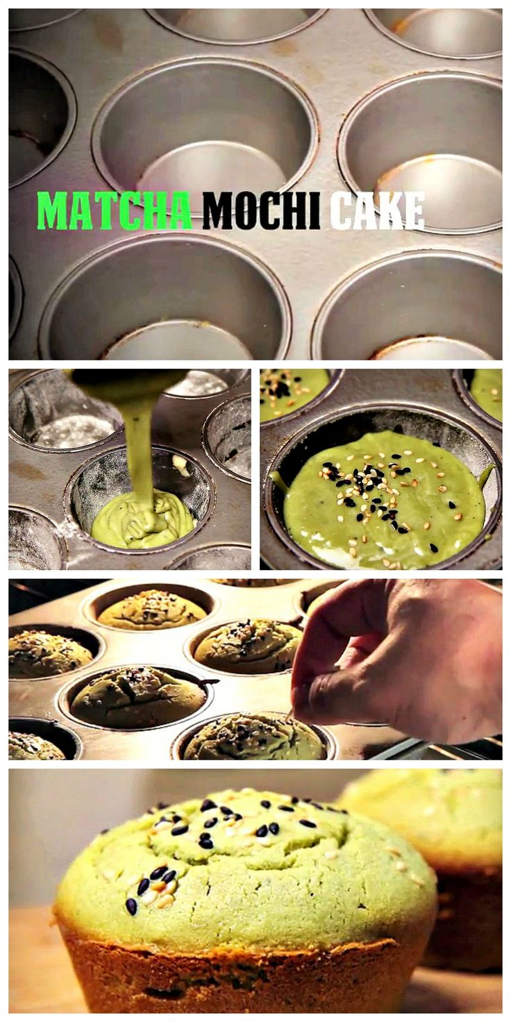 Matcha Mochi Cakes -  So moist and chewy with a slightly crispy exterior.