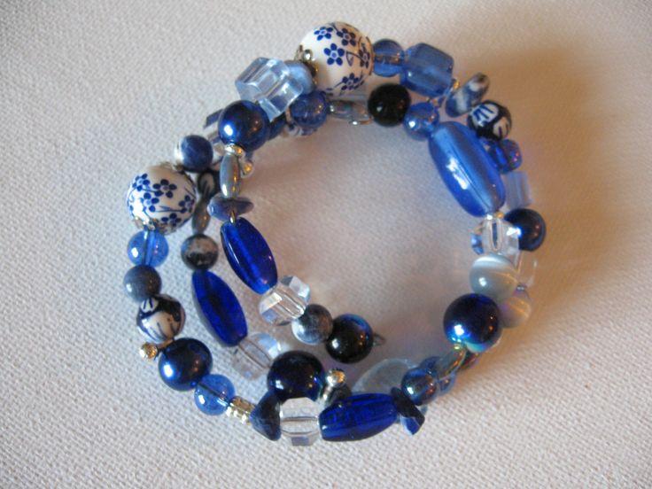 all shades of blue - wrap around bracelet