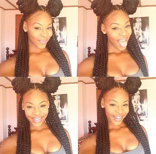 Senegalese Twists Space Buns Half Updo