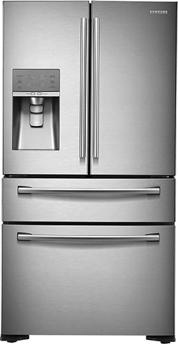 Samsung - 22.6 Cu. Ft. Counter-Depth 4-Door French Door Refrigerator with Thru-the-Door Ice and Water - Stainless Steel - Larger Front