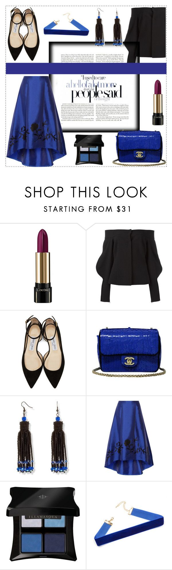 """Good to be back"" by hereisalessia ❤ liked on Polyvore featuring Lancôme, Natasha Zinko, Jimmy Choo, Chanel, NOIR Sachin + Babi and Illamasqua"