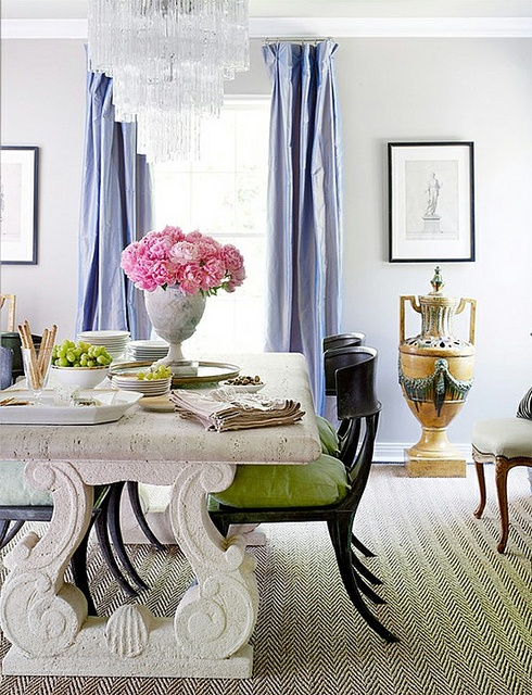 Gorgeous Dining Area. Marble Tabletop, Green Cushions, Periwinkle Drapes,  Love That Chandelier