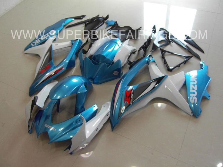 2008-2010 GSXR-600 750 Metallic Blue & White Fairings