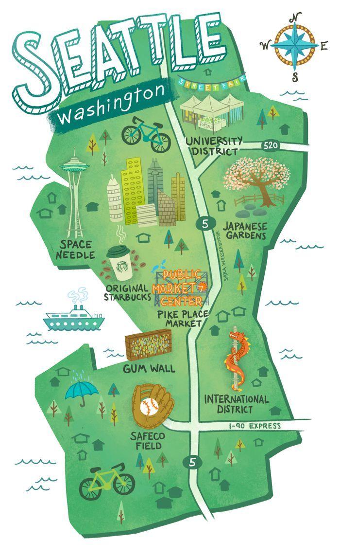 Illustrated Maps Of Atlanta Ga Austin Tx And Seattle Wa For The Ups Store S Smallbizsalute Campaign In May 2015 Illustrierte Karten Urlaub Usa See