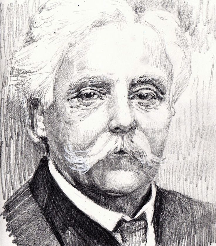 "Composer Gabriel Fauré, graphite and white ink, 8.5"" x 11"