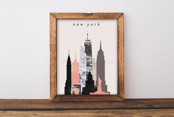 New York Skyline Art New York Art New York Map New York Print New York Poster New York Printable Wall Art New York Silhouette Art