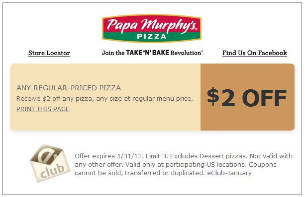 Papa Murphy's Pizza Coupon: $2 off