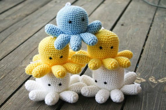 Crochet Mr. Tako Amigurumi filled with Home-grown Lavender on Etsy, £12.75