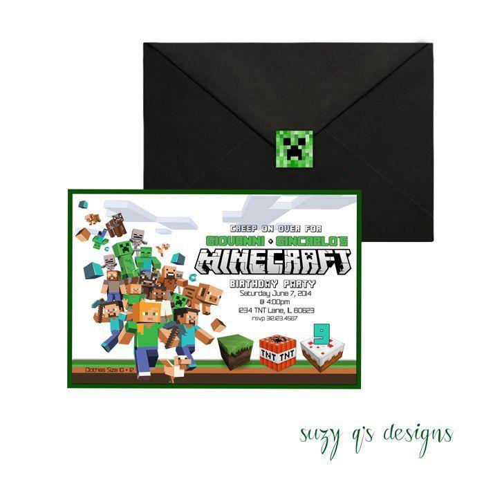 The 25 best Minecraft birthday invitations ideas on Pinterest